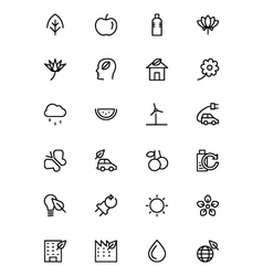Nature and ecology line icons 1 vector