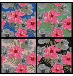 Set of tropical floral seamless patterns vector