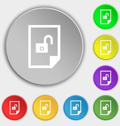 File locked icon sign symbols on eight flat vector