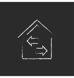 Property resale icon drawn in chalk vector