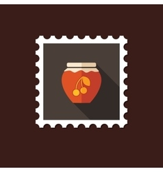 Cherry jam jar flat stamp with long shadow vector image