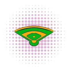 Baseball field icon comics style vector