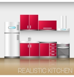 Kitchen interior with furniture in realistic style vector