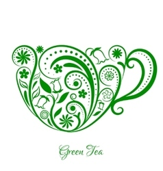 Green cup of tea with floral design vector