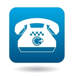 Retro phone with a taxi sign icon flat style vector