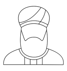 Arabian man in a turban icon outline style vector