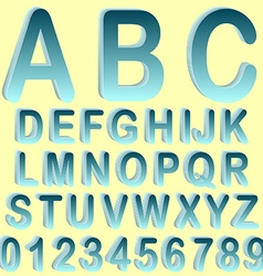 Blue isometric 3d font set vector