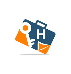 Briefcase key document initial h vector