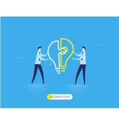 Businessmen connect lamp puzzle vector