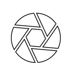 camera lens shutter black color icon vector image