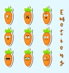 Cartoon carrot cute character face sticker vector