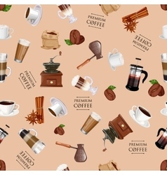 Coffee elements seamless pattern coffee grinder vector