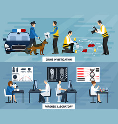 Crime investigation flat banners vector