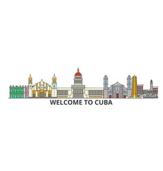 cuba outline skyline cuban flat thin line icons vector image vector image