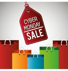 cyber monday sale label with bag vector image