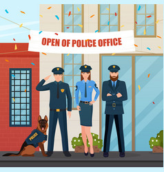 festive police people composition vector image vector image