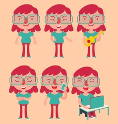 Geek girl wearing glasses set vector