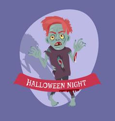 halloween night placard on vector image vector image