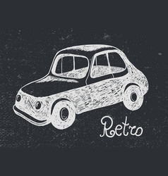 Hand drawn retro car card vector
