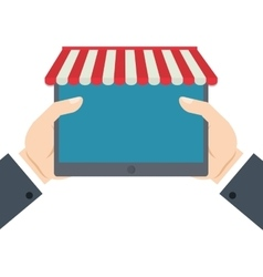 hands holding tablet shopping online vector image vector image
