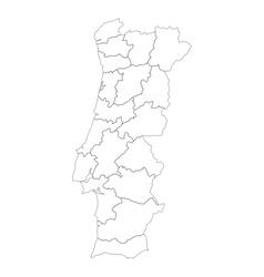 Map of Portugal vector image vector image