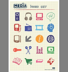 Media and business icons set vector image