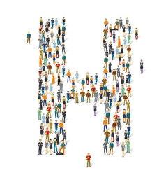People crowd alphabet abc letter h vector