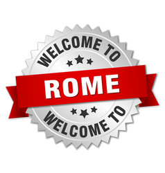 Rome 3d silver badge with red ribbon vector