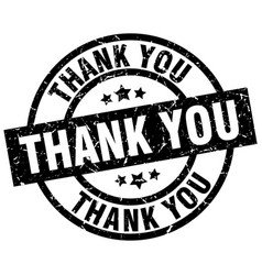 Thank you round grunge black stamp vector