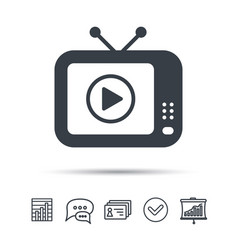 tv icon retro television sign vector image vector image