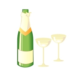 Two glasses of champagne and bottle vector image vector image