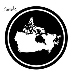 White map of canada on black circle vector