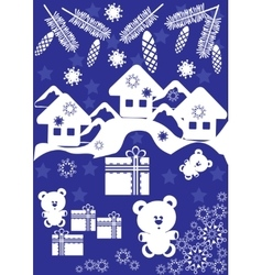 Winter card with small houses and gift box vector