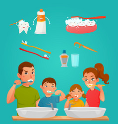 Young family brushing teeth together vector