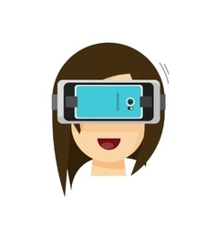 Person playing virtual reality glasses helmet via vector