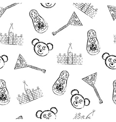 Russian symbols icons seamless pattern vector image