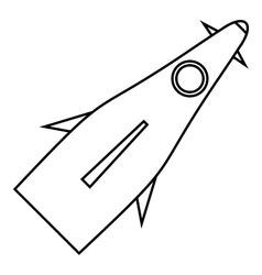 Winged rocket icon outline style vector