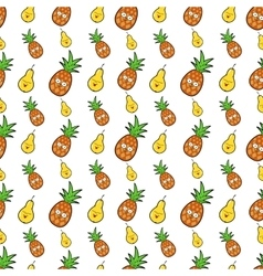 Fruits seamless background with funny pears vector