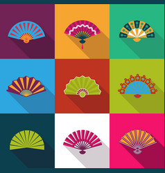 Folding paper chinese hand fan set flat icons vector