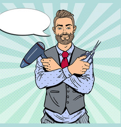 Pop art bearded barber with scissors and hairdryer vector