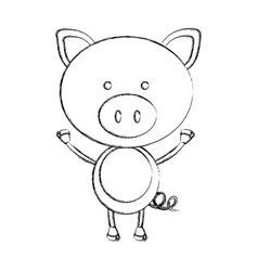 Monochrome blurred contour with male pig vector