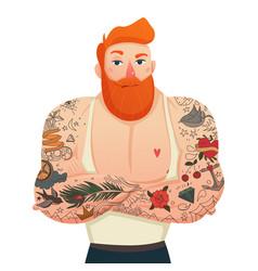 tattooed man isolated figurine vector image
