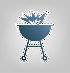 Barbecue with fire sign  blue icon with vector