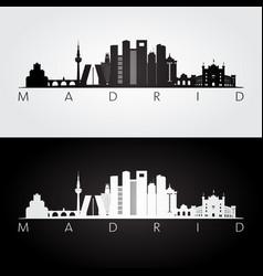 madrid skyline and landmarks silhouette vector image