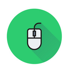 Computer mouse icon on round background vector