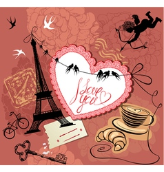 Vintage valentines day postcard with paris theme vector
