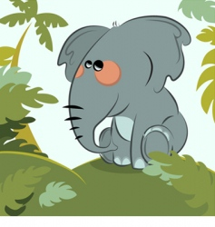 Elephant in the jungle vector