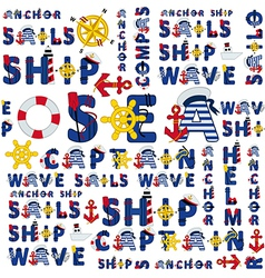 Seamless sea pattern of words vector
