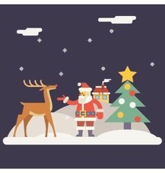Winter santa claus and rudolph deer characters new vector