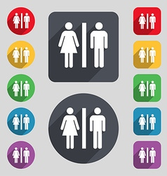 Silhouette of a man and a woman icon sign a set of vector